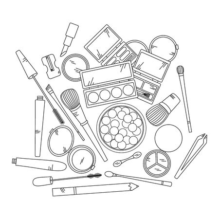 eyeshadow: Cosmetics and fashion background with make up artist objects - lipstick, eyeshadow, brush, powder and other.  Vector illustration.