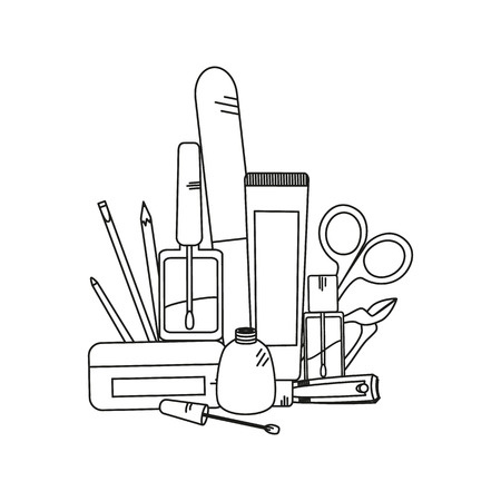 rouge: Beauty background with manicure tools - nail clippers, nail polish and nailfile. Vector illustration.
