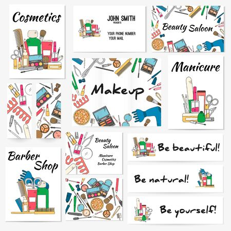 make up artist: Set of banners, posters and business card with make up artist objects - lipstick, cream, brush. Cosmetics and fashion background. Vector illustration in bright color..