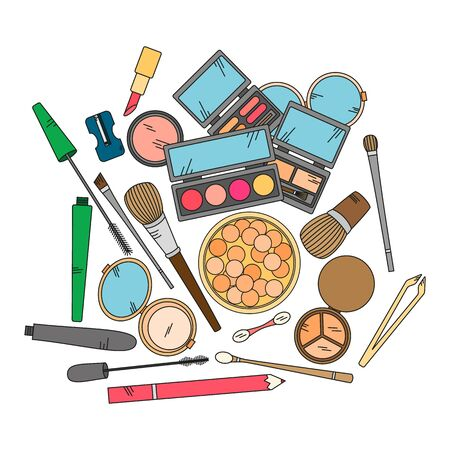 lipstick brush: Cosmetics and fashion background with make up artist objects - lipstick, eyeshadow, brush, powder and other.  Vector illustration in bright color.