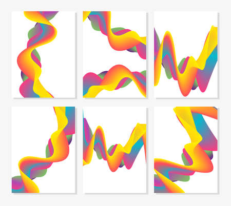 Set of six abstract cards with liquid lines. Applicable for covers, placards, posters, flyers and banner designs. Vector illustration.