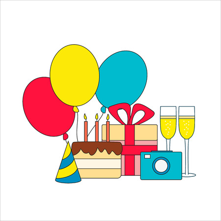 Set of birthday icon - cake, gift, champagne, camera and three air balloons. Vector illustration.