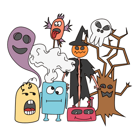 Funny colored cartoon monsters card in bright colours