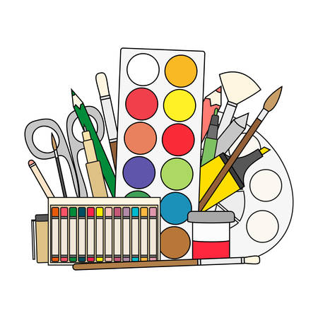 Art and back to school Supplies- paint brushes, pencils, paint, liners. Doodle vector illustration. Illustration