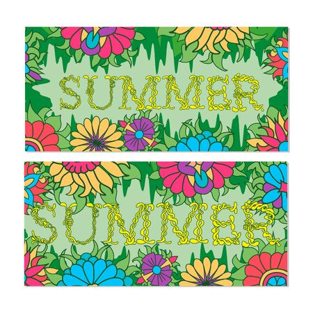 summer's: Summers banners with plants and flower. Vector illustration. Illustration