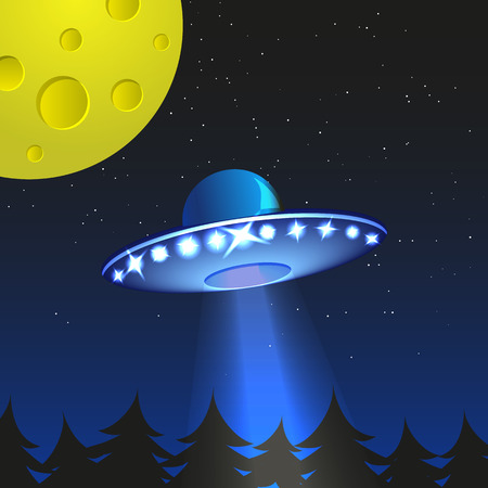 hover: Background with alien spaceship. World UFO day. Vector Illustration. Illustration