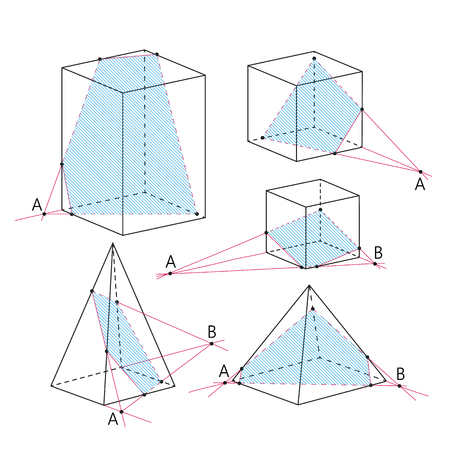 proposition: Math picture - sections of polyhedra. Geometry background. School vector illustration.