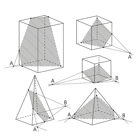 theorem: Math picture - sections of polyhedra. Geometry background. School vector illustration.