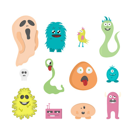 Set of twelve cartoon cute monsters on white background. Vector illustration.