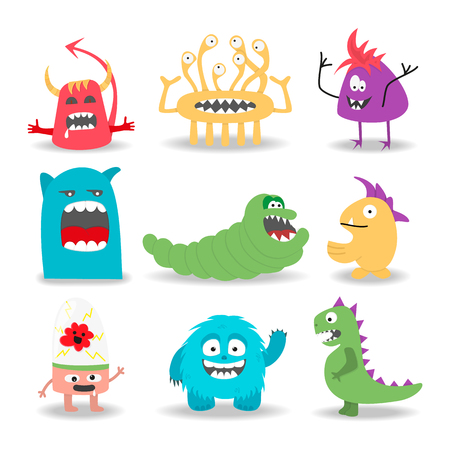 satisfied: Set of nine cartoon cute monsters on white background. Vector illustration.