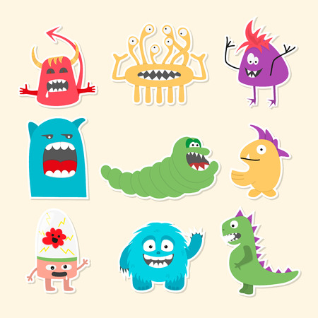 Set of nine stickers with cartoon cute monsters. Vector illustration. Illustration