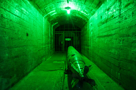 the miners: Balaklava, Crimea - September 2016: Marine torpedo - armed submarine. Underground submarine base and weapons during the Cold War in Sevastopol. Editorial