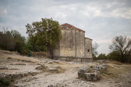 xv century: Cave city Chufut-Kale. Mausoleum Janicke Khanum of the XV century. Bakhchisaray. Crimea.