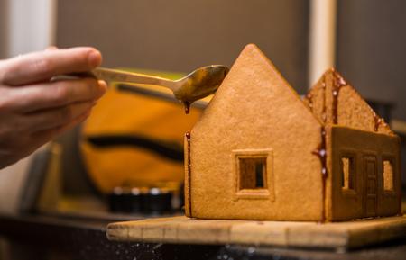 selebration: Homemade gingerbread house. Preparing for Christmas selebration