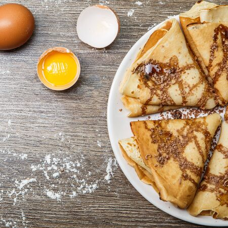 hotcakes: Hotcakes with chocolate on plate Stock Photo