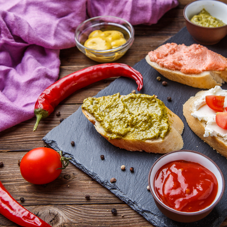 fillings: Sandwiches with fillings for breakfast