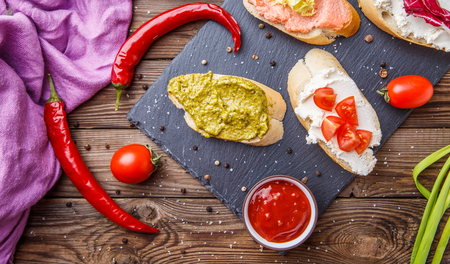 sauces: Baguette with sauces and vegetables
