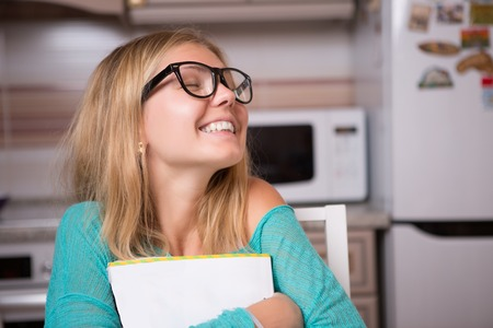 computerised: Photo of girl with glasses Stock Photo