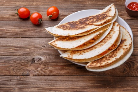 Tortilla with chicken and dressing