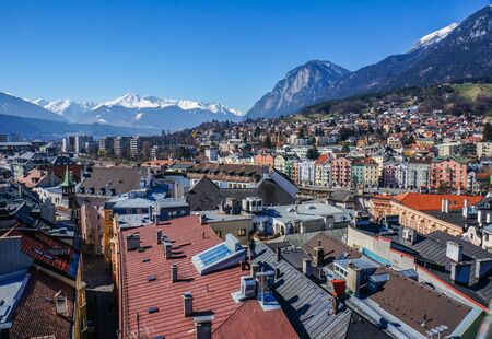 View of the city of Innsbruck from the roof. Stock Photo