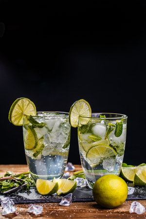 cocktail mixer: Mojito with ice on table Stock Photo