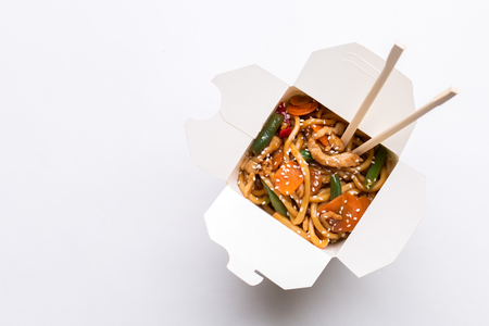 Noodle wok on empty background