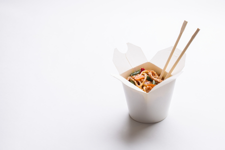 Chinese noodles in white box