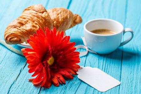 flavored: Gerbera, croissant, coffee, postcard empty
