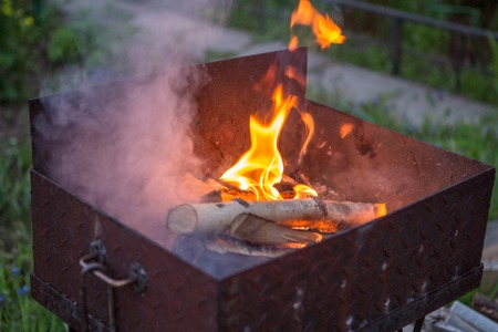 brazier: Barbecue with burning log, smoke