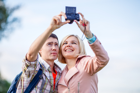 love pic: Couple taking a selfie on camera