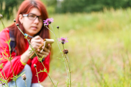 Thistle against background of girl