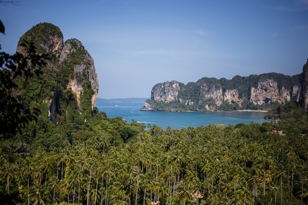 Aerial panoramic view from cliff on railay beach