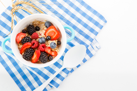 Oatmeal with raspberries, strawberries, blackberries