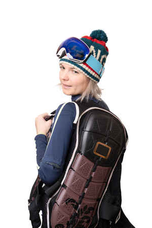 Women dressed in back defense for snowboarding Stock fotó