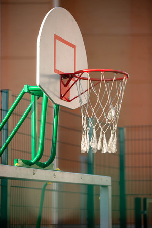 Photo of basketball hoop in gym Standard-Bild - 117834546