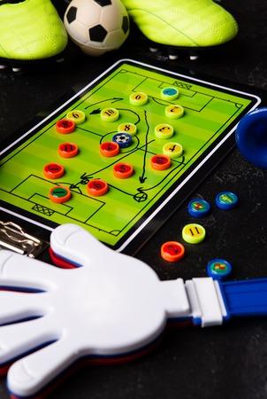 Photo of table football, soccer ball, boots, toys, ratchet Standard-Bild - 118056766