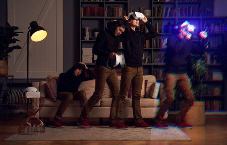 Man wearing virtual reality headset. Image with glitch effect