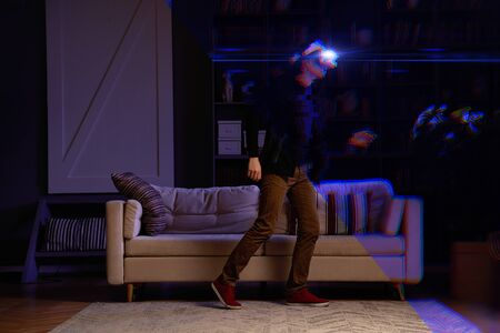 Man goes into virtual reality. Vr concept.