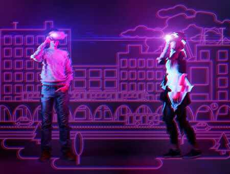 Man and woman using vr headset and get acquainted in virtual reality. Image with neon colors and glitch effect. The concept of virtual reality, online dating and future technology.