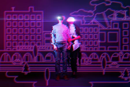 Man and woman get acquainted in virtual reality and falling in love. Image with neon colors and glitch effect. The concept of virtual reality, online dating and future technology.