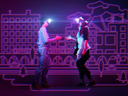 Man and woman using vr headset and get acquainted in virtual reality. Image with neon colors and glitch effect. The concept of virtual reality, online dating and future technology. Stockfoto