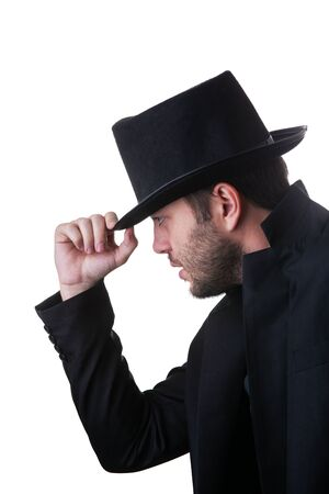 Man in black hat and jacket on side isolated