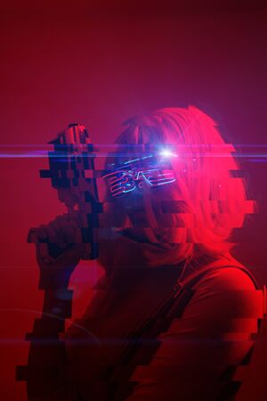 Girl with blaster in the futuristic battle. Image with glitch effect.