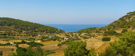 Amazing landscapes on the coast of Aegean Sea. island Rhodes, Greece Stock Photo