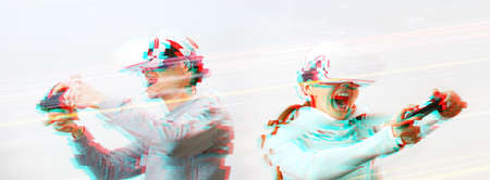 Man and woman with virtual reality headset are playing game. Image with glitch effect. Concept of virtual reality, games and communication.