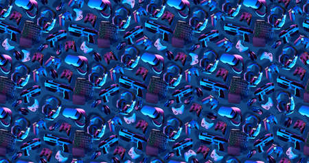 Seamless pattern with virtual reality gogles, gamepads and blaster game controllers, games keyboard, mouse and headset.