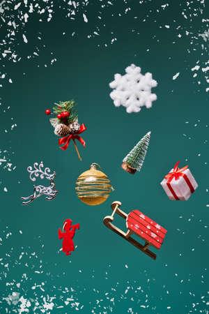 Levitation of Christmas decorations.
