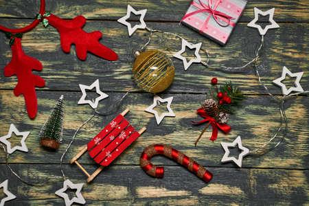 Christmas decorations on wooden table. Reklamní fotografie