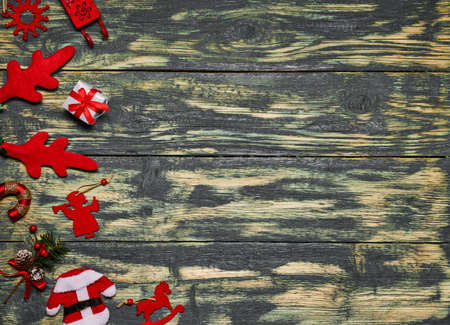 Christmas decorations on wooden table with space for text. Reklamní fotografie