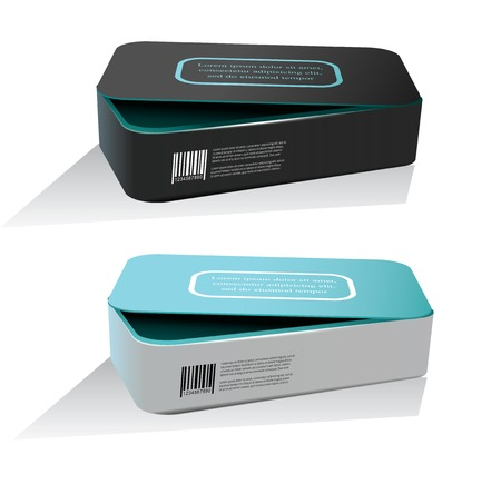 Empty package box mock-up. Vector illustration.??????